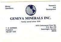 TD Barnes, President Geneva Minerals, Inc.