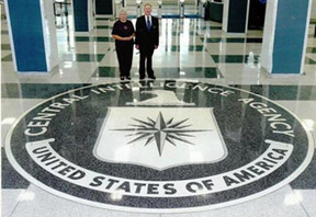 TD and Doris Barnes being honored at CIA Headquarters during 60th anniversary of CIA