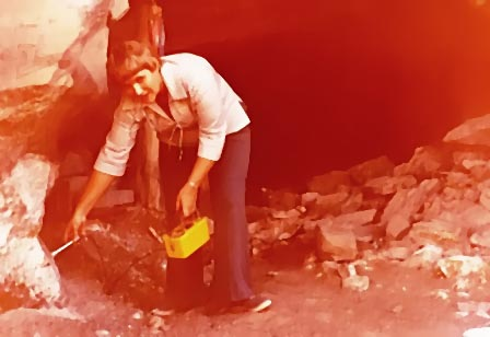 Doris Barnes with Geiger counter at Geneva Minerals uranium mine in Eastern Utah