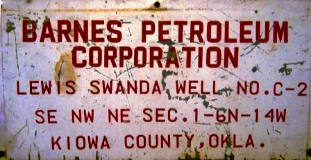 Barnes Petroleum Corporation well sign