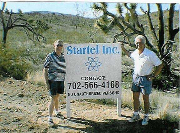 TD Barnes and Alexander Forbes at entrance to Startel's development property at Searchlight, Nevada